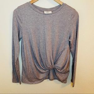 Ivoire Front knot Long Sleeve Top Gray Sz:S